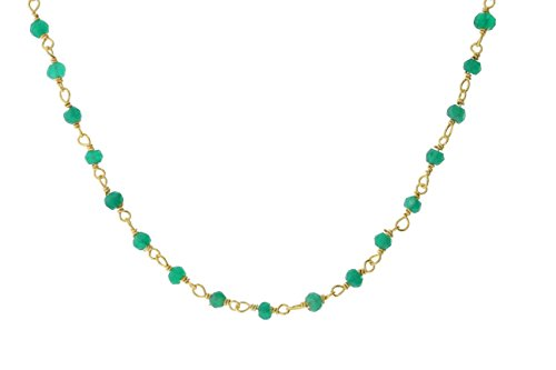 Gold-Tone Sterling Silver Wire Natural Green Onyx Gemstone Bead Chain Stone Link Handmade Rosary Necklace 16 - Green Gold Necklace Tone Beads