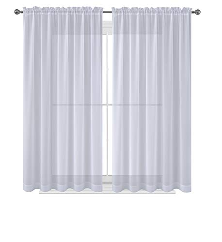 WPM  60 x 63-Inches Sheer Window Elegance Curtains/drape/panels/treatment, White