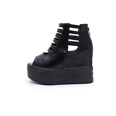 LvYuan Mujer-Tacón Plano Tacón Cuña Media plataforma-Confort-Sandalias-Vestido Informal-PU-Negro Blanco Black