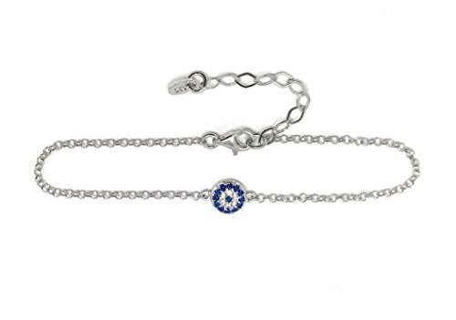 (Martinuzzi Evil eye Chain Bracelet Sterling Silver Turkish Little Round Charm Zircon Crystals Good Luck Amulet (Sterling)