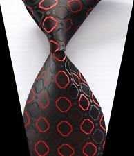 jacob alex #38811 Classic Necktie Black&Red Plaids WOVEN JACQUARD Silk Men's Suits Tie (Halloween Bunny Makeup)