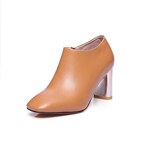 tacones Camel color amp;X zapatos mujeres's Toe plataforma QIN Botines con de Square corto Las bloque qXfwnxC