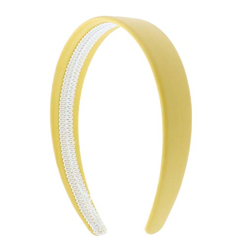 Yellow 1 Inch Wide Leather Like Headband Solid Hair band for Women and Girls