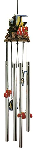 Angel Fish – Clown Fish -Tropical Fish Colorful 3d Poly Resin Top 4 Tube Wind Chime Indoor & Outdoor Decor 24 Inches Review