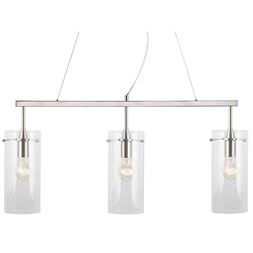 Effimero Pendant Lighting for Kitchen Island | Brushed Nickel Large 3 Pendant Light LL-P335-BN