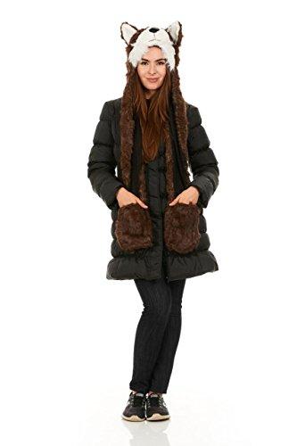 Faux Fur Full Animal Hood Hoodie Hat 3-in-1, Hat With Spirit Paws Ears (brown -
