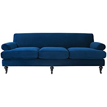 Jennifer Taylor Home, Lawson Sofa, Navy Blue, Velvet, Wooden Legs