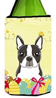 """UPC 638508207326, Caroline's Treasures BB1885LITERK """"Boston Terrier Easter Egg Hunt"""" Wine Bottle Hugger Koozie, 750ml, Multicolor"""