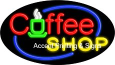Coffee Shop Flashing Handcrafted Real GlassTube Neon Sign