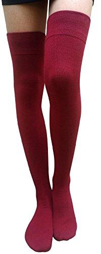 AM Landen Elegant Medium size Womens Burgundy Cotton Thigh High Socks Over Knee Socks