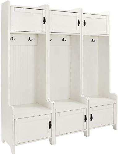- Crosley Furniture KF60005WH Fremont Tower Entryway Hall Tree with Storage (Set of 3), Distressed White