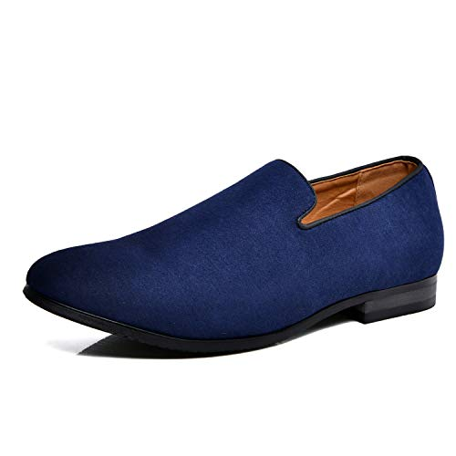 Men's Slip-on Loafers Dress Shoes PU Leather Noble Comfortable Pure Color Fashion Driving Boat Moccasins Blue 46
