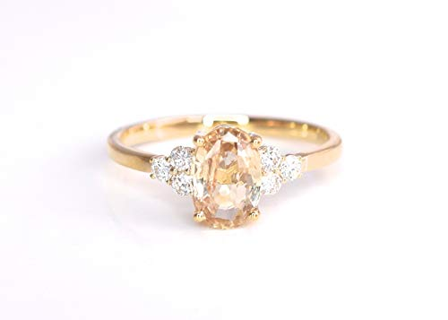 May Design Natural Canary Yellow Sapphire and Diamonds Statement Cocktail Engagement Ring 1.87 cttw Certified No Heat 14K Yellow Gold New Size 7 1/4