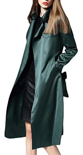 Satin Trench Jacket - XiaoTianXinWomen XTX Women's Belt Lapel Neck Tie Pocket Long Sleeve Satin Trench Coat Jacket Dark Green M