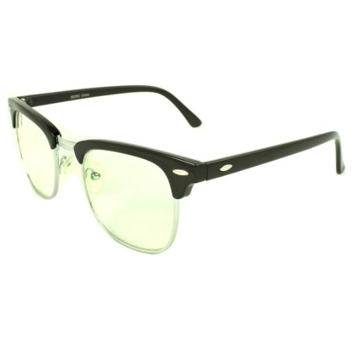 MLC Eyewear TU9329C-BKSVRCL Soho Retro Horn Rimmed Fashion Sunglasses Black Frame Clear - Eyewear Frames Soho