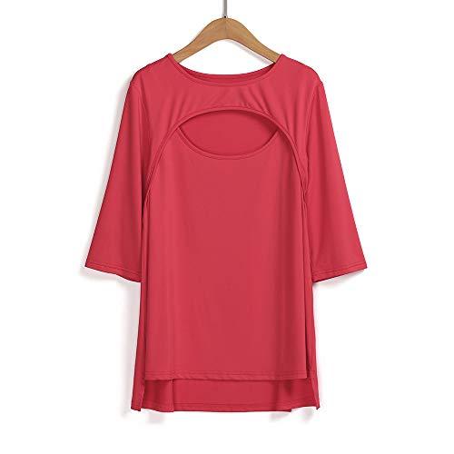 Sottile Maglietta shirt Donna Sexy Rosso 6xl T collor Elegante Camicetta Colore Mezze Estate O Puro Moda Taglie Forti Maniche Casuale polpqed Semplice Tops X4qZ4