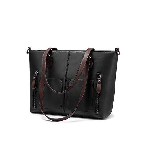 LOVEVOOK Große Umhängetasche für Frauen Handtasche Damen Schultertasche Vintage Kunstleder weiche Arbeit Tote Beutel mit Multi-Taschen im Angebot Schwarz Hit Farbe