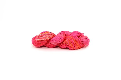Darn Good Yarn, Hand Beaded Silk Yarn, 275 Yards, Coral, 50 Grams, 1 Skein