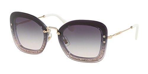 Miu Miu Women's Reveal Glitter Sunglasses, Transparent Violet/Pink Violet, One Size