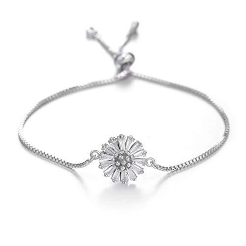 Adjustable Bracelets Bangles For Women Crystal Charm Wedding Bracelet Party Jewelry Blue Zinc Plated ()