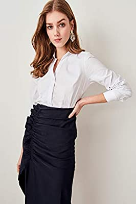 LFMDSY Camisa de Mujer Elegancia Informal Blanco básico Camisas con Cuello en V Ajustadas TCLSS19OA0028 34 Blanco: Amazon.es: Deportes y aire libre