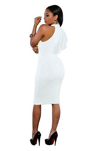 Señoras Off Blanco Un hombro volantes Midi vestido Club Wear fiesta oficina vestido de verano tamaño m UK 10–�?2EU 38–�?0