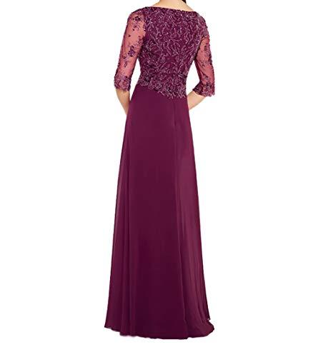 Brautmutterkleider Charmant Ballkleider Festlichkleider Damen Dunkel Chiffon Fuchsia Langarm Pailletten Rock Abendkleider rCIwXCgx