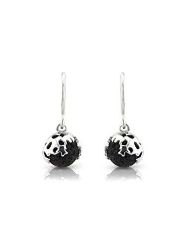 FOLD Hook Earrings in Lava and Sterling Silver by Aurum by Guðbjörg Jewellery