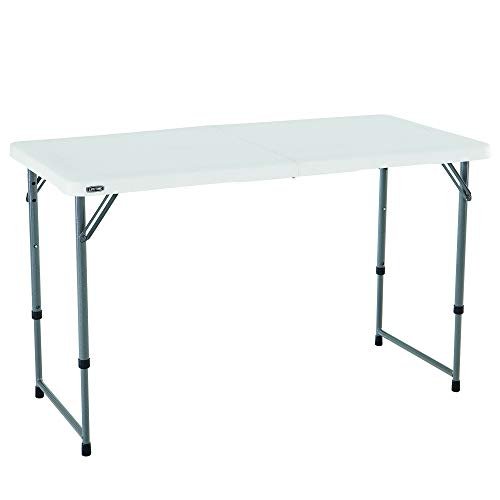 Lifetime 4428 Height Adjustable Craft, Camping and Utility Folding Table, 4 ft White (Half Round Plastic Table)