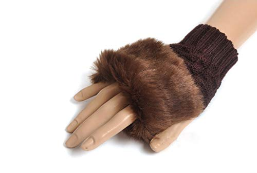 Winter Fingerless Short Touchscreen Gloves Thumb Hole Mittens Knitted Warm Gloves with Faux Fur Coffee from Knight Horse
