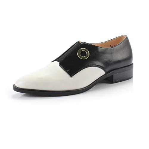 (DUNION Women?s Bonus Classic Comfortable Brogue Low Heels Casual Oxford Daily Shoe,Bonus Black/White,7.5 M US)