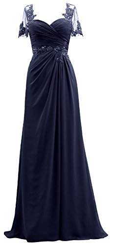 Bride Evening Chiffon The of Gown Short Dress Women MACloth Navy Sleeves Mother Dark Lace nv6CaqxY