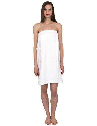 TowelSelections Women's Wrap, Shower & Bath, Water Absorbent Cotton Lined Fleece Small/Medium White (Shower Bath Wrap)
