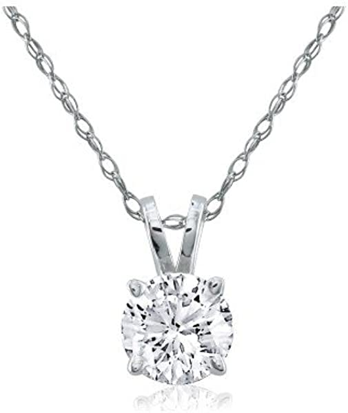 Amazon 12 carat round diamond solitaire necklace pendant 12 carat round diamond solitaire necklace pendant crafted in solid 14k white gold with free blitz jewelry cleaner aloadofball Choice Image