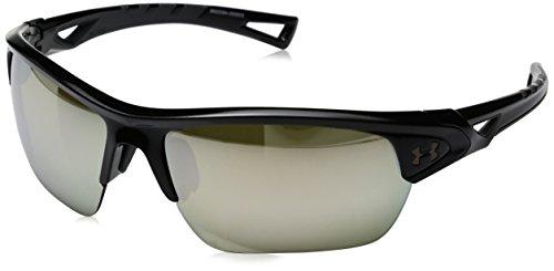 Under Armour Wrap Sunglasses, UA OCTANE SHINY BLACK/CHARCOAL GRAY FRAME/GAME DAY/CHROME MULTIFLECTION LENS, M/L