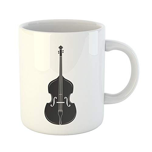 (Emvency Coffee Tea Mug Gift 11 Ounces Funny Ceramic Double Bass Contra Doublebass Music Instrument Classic Concert and Festival Gifts For Family Friends Coworkers Boss Mug)