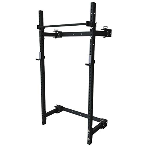 PRx Performance Murphy Squat Rack, Folding Fitness Rack, Wall Mounted, 90 inch Uprights, Pull Up Bar, Home Gym Lifting Rack