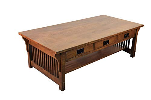 Crafters and Weavers Mission Quarter Sawn Oak Coffee Table with - Oak Sawn Tables Quarter