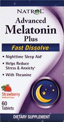 Natrol Mélatonine plus avancée Sleep Aid, fraise, Fast Dissoudre Tablets, 60 Count
