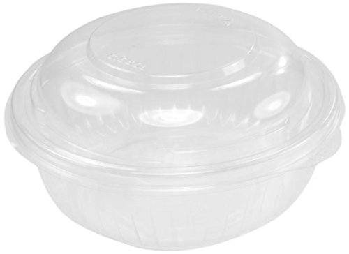 - Dart C16BCD, 16-Ounce PresentaBowls Clear Plastic Salad Bowl with Clear Dome Lid, Serving/Catering Take Out Deli Bowls, Carry Out Food Containers (60)