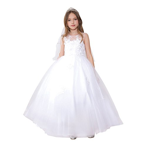 Calla Collection Little Girls White Mesh Floral Applique Pageant Dress 4 by Calla Collection USA