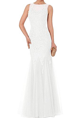 Abiballkleider Meerjungfrau Promkleider Abendkleider Abschlussballkleider Damen Charmant Spitze lang Weiß nXY0x5q