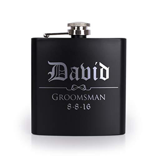 Set of 6, Set of 3, Single - Personalized Flask, Groomsmen Gift, Customized Groomsman Flasks, Wedding Favors, Matte Black, Design 3 -