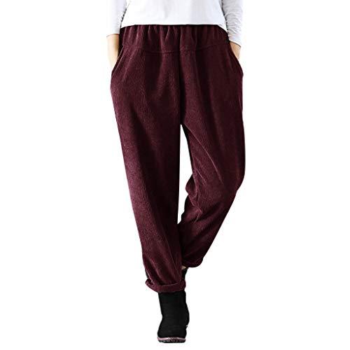 (BODOAO Women Corduroy Pants Casual Elastic Waist Lounge Pant Trousers)