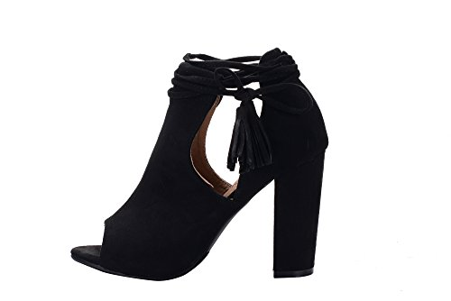 Women's Bootie Chunky Tasseled Platform Lady Peep Boot Black Heel Ankle DOTOTHY Stacked Mila Toe B74E7q
