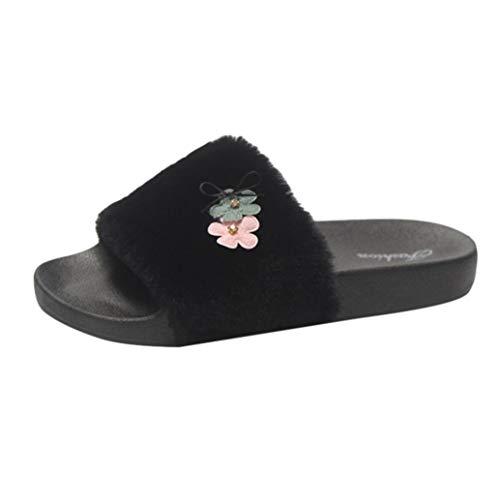 S Slip B amp;H Fourrure Noir Femme Fluffy Chaussons Sliders NEEDRA Flop Fausse Flat Hiver Dames on Automne Printemps Flip Sandales nF7nH