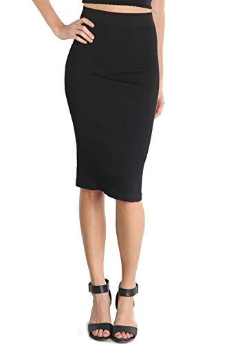 (Ribbed Midi Skirt (Black))