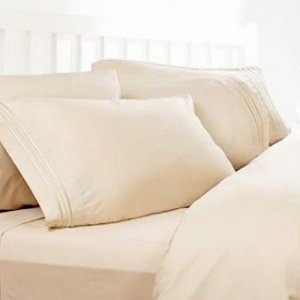 Merveilleux Twin XL Extra Long Sheets: Cream, 1800 Thread Count Egyptian Bed Sheets,  Deep