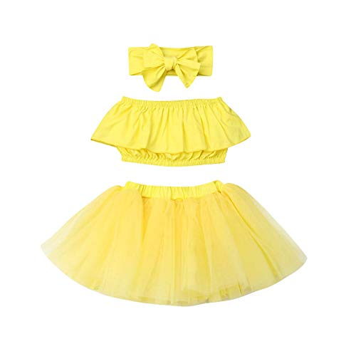 3Pcs Newborn Baby Girl Outfits Clothing Kids Cute Ruffle Tube Top+Tulle Tutu Skirt Dress with Headband (Yellow,18-24 Months) -