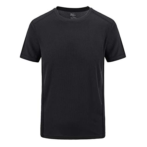 (YOMXL Men's Short Sleeve Crew Neck Sports Tee Lightweight Quick Dry Breathable Tops Summer Casual Outdoor T-Shirt Black)
